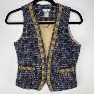 Cache Tweed navy vest Boho gold chain